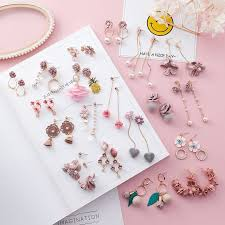 2018 Trendy japanese <b>Korean</b> Girl <b>Cute</b> Earrings <b>Simple</b> Pink Fabric ...