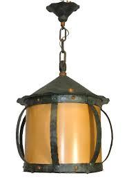 arts and crafts hammered iron hanging lantern chandelier