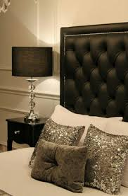 black and silver bedroom furniture. love the silver sequin pillows great for xmasnyears bedroom sitting room or couch black tufted head board with white and accents furniture w