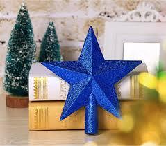 Misslight Weihnachtsbaum Stern Weihnachtsstern Weihnachtsbaumspitze Baumspitze Spitze Stern Baumschmuck Christbaumschmuck Blau