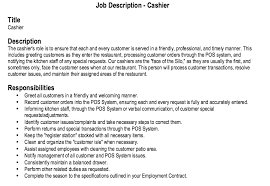 sample of resume with job description restaurant cashier job description restaurant cashier job