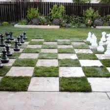 Chess Board Lawn DIY Inspiring Patio Design Ideas With Grass Plants Interesting Garden Design Games Collection