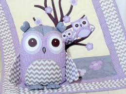 organic owl quilt baby crib bedding kids blanket owl pillow purple grey chevron