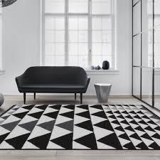 modern black cream grey triangles area rug monochrome geometric living room rugs