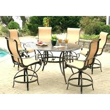 patio pub table set bar height outdoor dining manor aluminum 7 piece round awesome folding sling