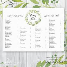 wedding guest seating chart template printable wedding seating chart watercolour spring green wreath