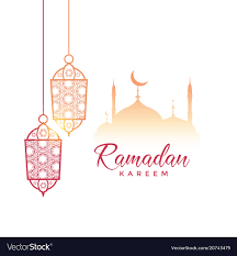 Ramadan Kareem Greeting Design With Hanging Lamps