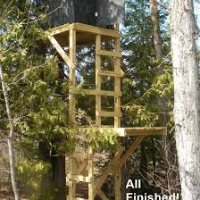 a two level deer stand built from a free deer stand plan