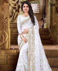 picture of excellent white silk saree
