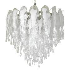 italian murano white stalai glass chandelier in the style of mazzega for
