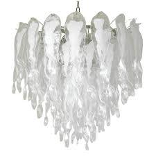 italian murano white stalai glass chandelier in the style of mazzega