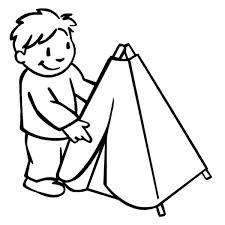 Disegno Di Bambino Con Tenda Da Colorare Per Bambini