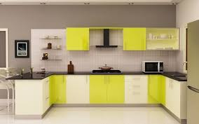 Kitchen Cabinets With Windows Yellow Kitchen Cabinet Design With Windows And Dining Table