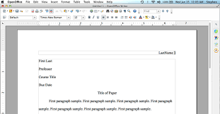 mla format using openoffice org openoffice firstpage