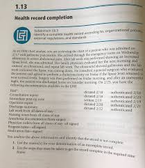 Him Chart Analyst Job Description Solved 1 13 Health Record Completion Ldentify A Complete