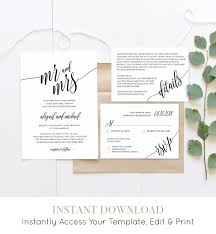 wedding invite template download wedding invitation template instant download rustic modern wedding