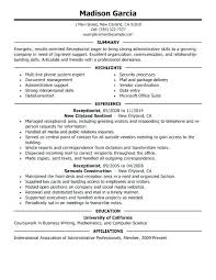 Front Desk Resume Sample Salon Receptionist Resume Receptionist At