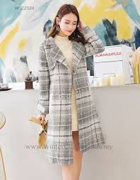plus size trench coat gray plaid printed boucle coat rm219 00 rm169 00
