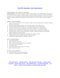Duties Of A Forklift Operator with regard to Machine Operator Job  Description For Resume