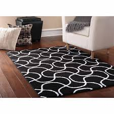 only at mainstays drizzle area rug black or white square pattern geometrics carpet wool luminated