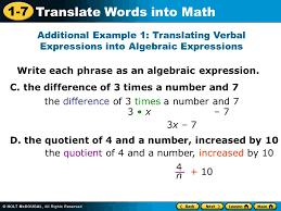 1 7 translate words into math write each phrase as an algebraic expression