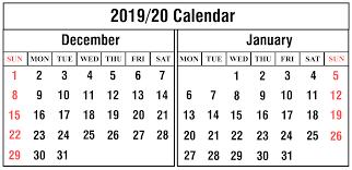 Free December And January 2019 2020 Calendar Printable