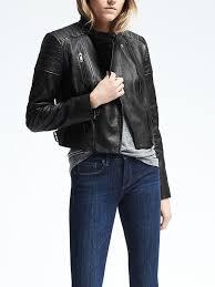 banana republic womens black leather moto jacket size l black