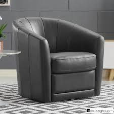 natuzzi grey leather swivel accent chair