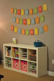 Playroom - Ikea Expedit shelf and ABC alphabet banner. Cards are
