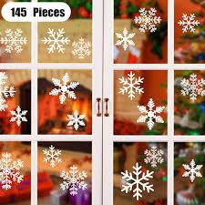 Asanmu Schneeflocken Fensterbild 145 Weihnachtsdeko Fensterbilder Schneeflocken Für Winter Weihnachts Fensterdeko Set Statisch Haftende Pvc