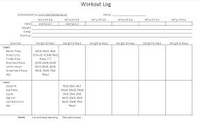 Food Journal Log Template Workout Bodybuilding Logs Excel Templates