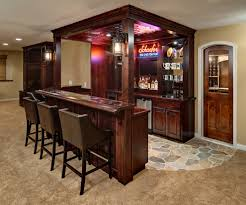 basement decor idea with wine bar also leather stools and small wood  counter table