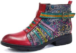 Socofy <b>Leather</b> Ankle Boots, <b>Women's Winter Leather</b> Boots Ladies ...