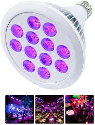 Black Light Commercial Black Light Bulbs Mrhua 24w 12 Led Uv Light E26 Par38 Glow In The Dark Uva Level 385 400nm For Blacklight Party Dj Stage Lighting Birthday Body