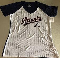 Majestic International Size Chart Details About Atlanta Braves V Neck Pinstripes Jersey Shirt Ladies Medium Majestic Mlb