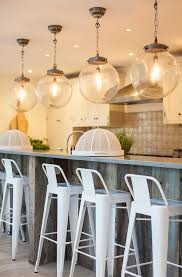 pendant lighting for bars. Globe Pendant Light Kitchen Beach With Breakfast Bar Coastal Kitchen. Image By: Randell Design Group Lighting For Bars
