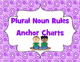 Noun Picture Chart Plural Noun Rules Anchor Chart Set