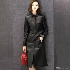 2019 real sheepskin women long leather coat jacket exquisite top quality with waist belt f490 black elegant leather trench coat from sarmit
