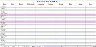 workout template excel workout spreadsheet excel workout schedule template excel printable