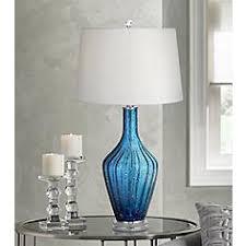 blue glass lamp. Possini Euro Elin Blue Fluted Art Glass Table Lamp E