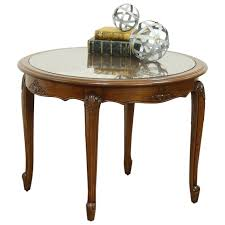 oak carved round vintage coffee table cane glass top france