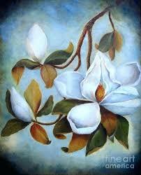 magnolia tree painting summer under the fine art print flower oil paintings