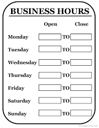 Printable Business Hours Sign Business Hours Sign