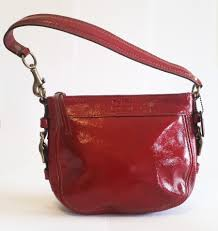 coach zoe patent leather red
