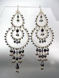 stunning black onyx crystal beads gold chandelier dangle peruvian earrings 13bk