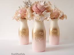 Decorative Milk Bottles Pink and Gold Baby Shower Decor Centerpiece Girl Painted Milk 72