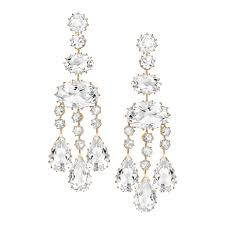 long rock crystal chandelier earrings in 18k rose gold featuring approximately 58 60 total carats of rock crystal designed by ivanka trump clip backs