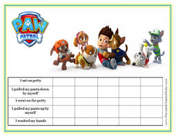 Paw Patrol Potty Training Chart Site Has Various Characters