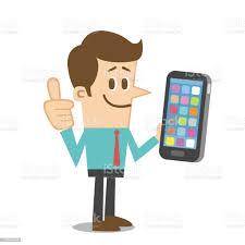 Mann Mit Einem Smartphone Stock Vektor Art und mehr Bilder von Daumen hoch - iStock