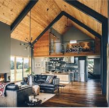 Barn Designs With Loft Loft Vaulted Ceilings And Wide Open Modern Barn House